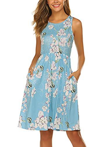 OURS Womens Sleeveless Floral Pockets Tank Dresses for Party Light Blue XL - Length Women Beach Dress