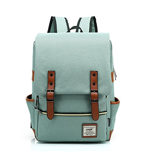 15 inches Retro backpack School bag Notebook Computer Neutral Canvas Backpack (light green) - Canvas Oxford Green