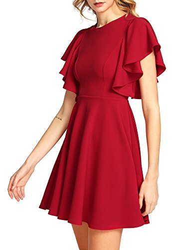 Romwe Women's Stretchy A Line Swing Flared Skater Cocktail Party Dress Red M ()