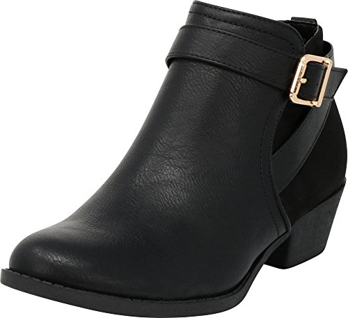 Cambridge Select Women's Closed Round Toe Western Buckle Wraparound Strap Chunky Low Heel Ankle Bootie,8.5 B(M) US,Black (Wrap Buckle Around)