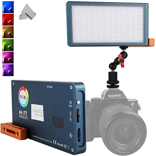 Falcon Eyes F7 RGB Led Pocket Fill Light, CRI: 97, 2500K-9000K Adjustable, 0-100% Stepless Dimming, OLED Display, Multiple Scenario Mode, Built-in Battery for Vlog, YouTube, Live Video, Film Maker