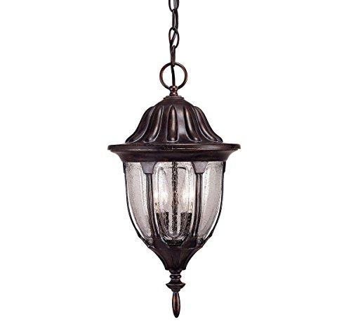 Savoy House 5-1502-52 Outdoor Pendant with Clear Seeded Shades, Bark and Gold Finish