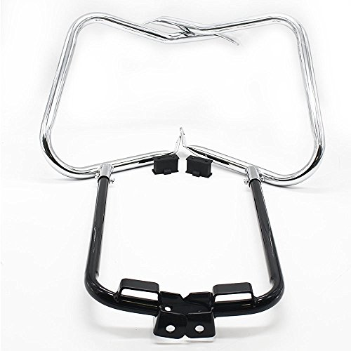 Chrome Saddlebag - HTT Chrome Black Rear Saddlebag Bracket Guard Bars For 2014-2016 Harley Touring Street Road Glide Electra Glide Road King