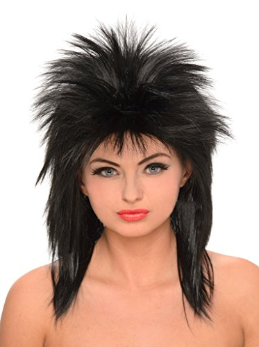 Style Halloween Costumes Hair Wig (Black Rock Star Style Wig - Halloween)