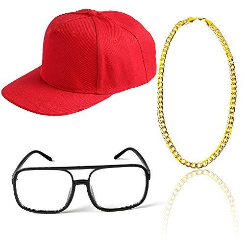 Beelittle 80s 90s Rapper Hip Hop Costume Snapback Baseball Cap DJ Sunglasses Gold Plated Chain (J) ()