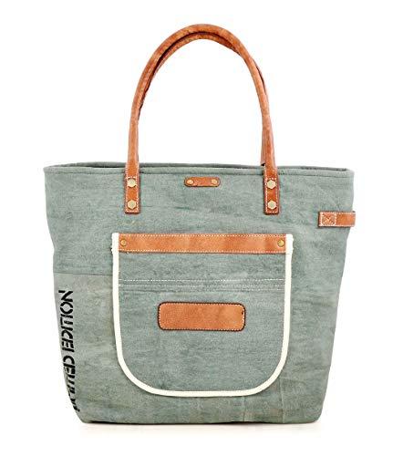 Trim Shopper (Canvas Tote bag for Women Girls Leather Trims Work Travel Shopper Backpack Cross body Hobo Messenger Shoulder Purse by Daphne)