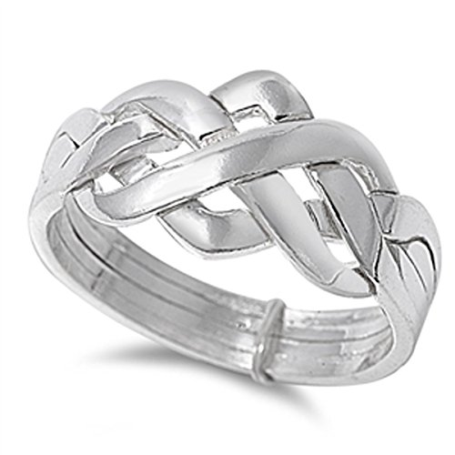 Prime Jewelry Collection Sterling Silver Women's Celtic Knot Puzzle Ring (Sizes 4-13) (Ring Size (Silver Puzzle Ring)