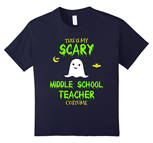 Kids Scary Middle School Teacher Costume Halloween T-Shirt 12 Navy