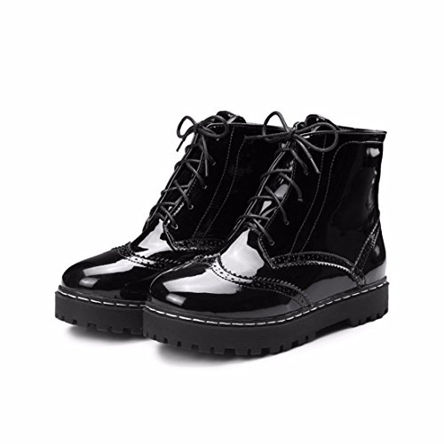 flat boots boots Winter American ladies' pure and Martin big head size Black color European 6TqqBwI