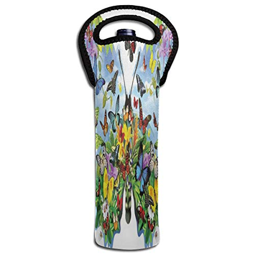 (Wine Bag Butterflies Spring Floral Summer 1 Beer Bottle Red Wine Tote Bag Insulated Padded Single Champagne Gift Carrier Holder)