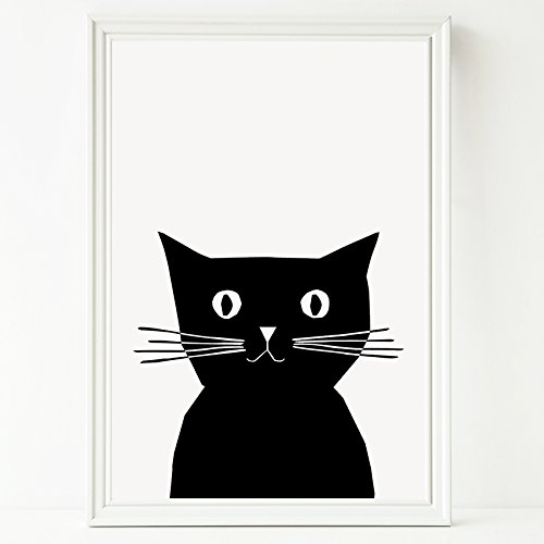 Cat print cute black and white illustrated cat artwork for nursery or kids room