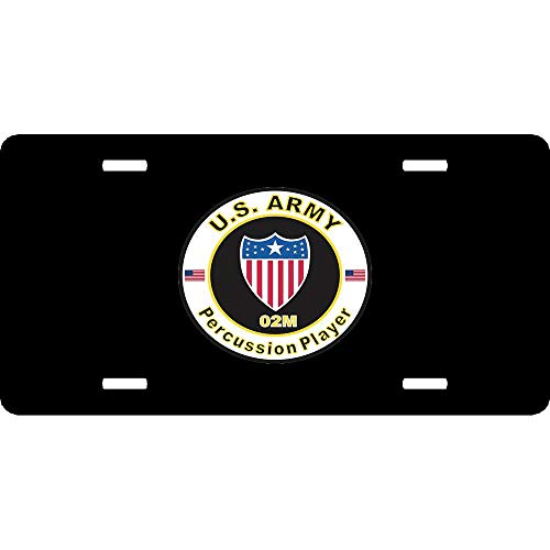 URCustomPro U.S. Army MOS 02M Percussion Player Heavy Duty Aluminum License Plate for Front of Car US Army Military Decoration for Auto Car Tag 4 Holes (12