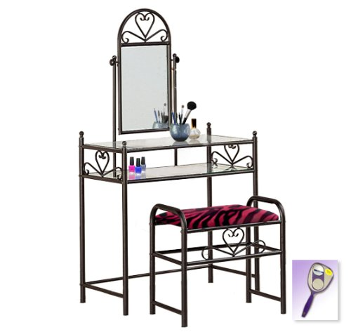 New Black Finish Make Up Sweetheart Vanity Table with Mirror