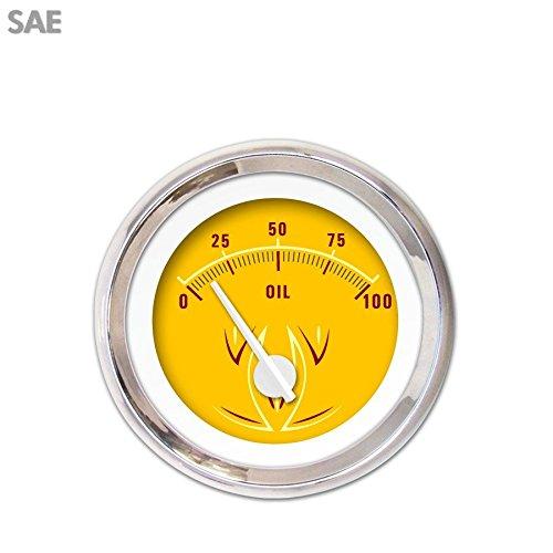 White Modern Needles, Chrome Trim Rings, Style Kit DIY Install Aurora Instruments 3839 Pinstripe II Yellow SAE Oil Pressure Gauge