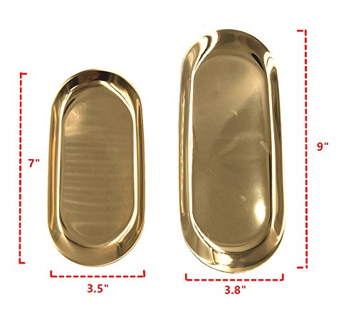 Stainless Steel Serving Oval Tray, ICASA, 9 and 7 Inch Gold Jewelry Watch Tray, Serving Platter, Elegant Home Decorative by ICASA (Image #1)