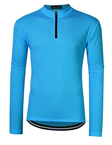 Men Cycling Shirt Breathable and Quick Dry Solid Color Zipper Long Sleeve Bike T-Shirts (L, (Bike Long Sleeve Tee)