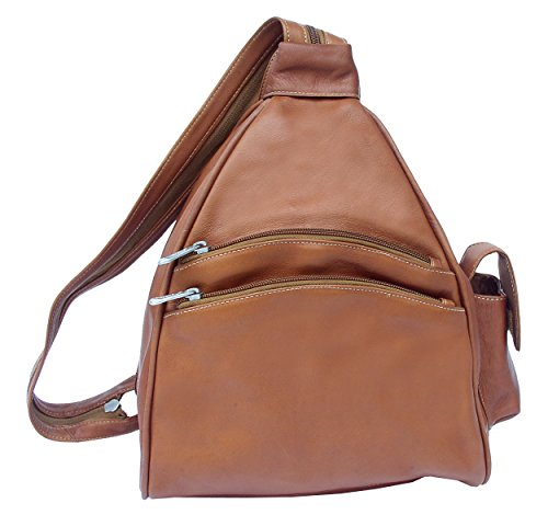 Piel Custom Personalized Leather Two-Pocket Sling in Saddle