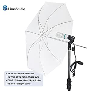 LimoStudio Photography White Photo Umbrella Light Lighting Kit, AGG1754