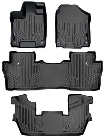 SMARTLINER Custom Fit Floor Mats 3 Row Liner Set Black for 2016-2021 Honda Pilot Elite Model Only