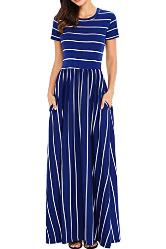 Uniarmoire Women's Summer Short Sleeve Striped Long Dress with Pocket Maxi Dress Deep Blue XL -