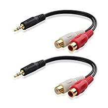 Cable Matters 2-Pack, Gold Plated 3.5mm Stereo to 2RCA Male to Female Adapter 8 Inch