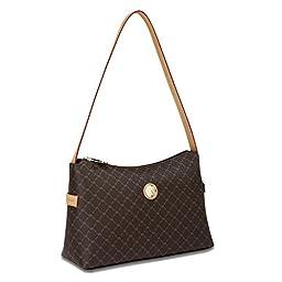 Signature Top Zip Shoulder Bag Color: Black