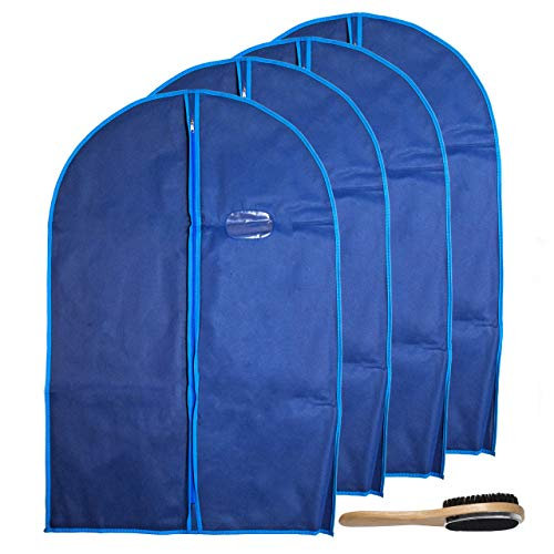 Garment Bags by Home Zone - 4 Pack of Breathable Garment Suit Bag Clothes Covers - Protect Garments & Suits - Ideal for Mens Travel & Clothing Protection - Navy & Blue Finish - Medium Size ()
