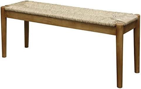 Collective Design Casual Large Seagrass Wood Table W/O Glass Round Leg