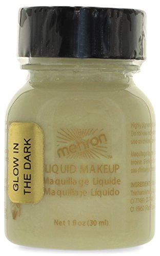 Mehron Makeup Liquid Face & Body Paint, GLOW-IN-THE-DARK – 1oz Carded