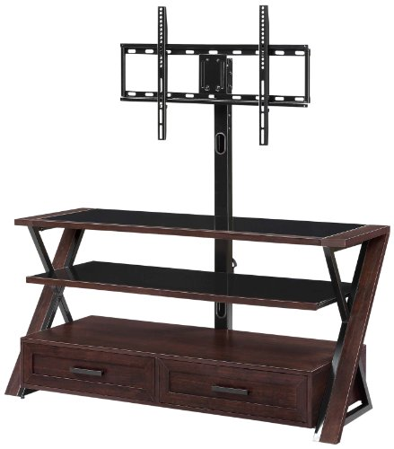 Whalen Furniture XLDEC54-NV 3-in-1 Flat Panel Entertainment Stand with 2 Drawers, 54-Inch Modern Traditional Tv Stand
