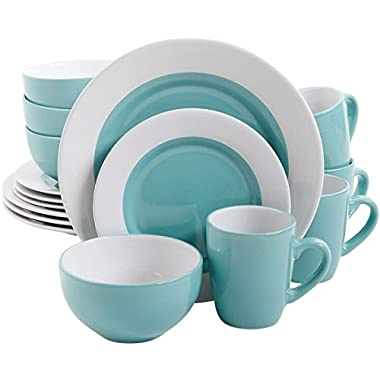 Gibson Style Deluxe 16 PC Dinnerware Set Blue