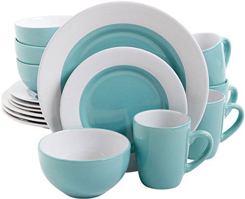 Gibson Style Deluxe 16 PC Dinnerware Set Blue by Gibson
