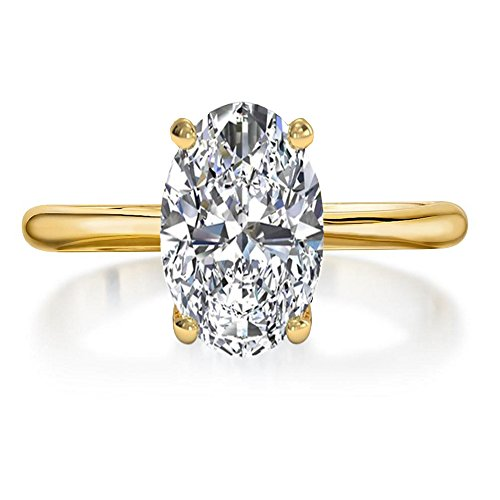 - espere Womens Sterling Silver Cubic Zirconia 2 Carat Oval Solitaire Engagement Ring Yellow Gold-Plated-Base Size 4
