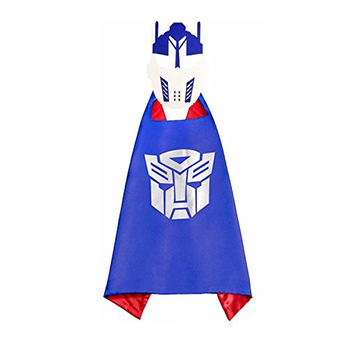 [Superhero Children Cloak And Mask Halloween Eight Style Movie Characters Cartoon Anime Cosplay Boy Girl Cloak Kindergarten Performing Clothing Masquerade Props (Blue Transformers cloak and Mask)] (Cartoon Character Simple Costume)