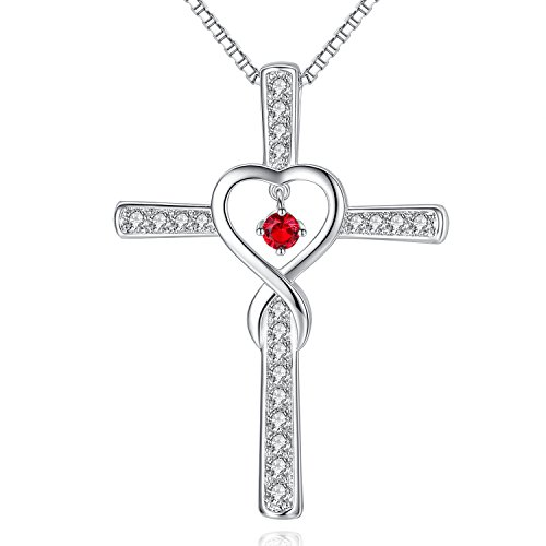 Milamiya July Ruby Birthstone Infinity Endless Love God Cross Pendant Necklace, Birthday Necklace, Jewelry Gifts for Women Girls Sister Wife Girlfriend Mom Mother Grandma Daughter Friendship