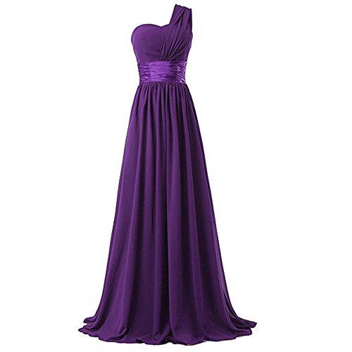 Loel Women's One Shoulder Chiffon Long Evening Dress Floor Length Trailing Bridesmaid Dress