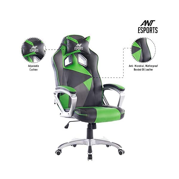 Ant Esports WB-8077 Green PU + PVC Black Metal Frame, 80mm Class 4 Gas Fit, 350mm Metal Base, Adjustable Backrest Angle 90-135 Degree Gaming Chair (8077 Green)