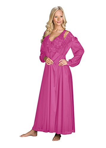 Shadowline Silhouette Gown and Peignoir Set (51737), Flamingo Pink, 2X
