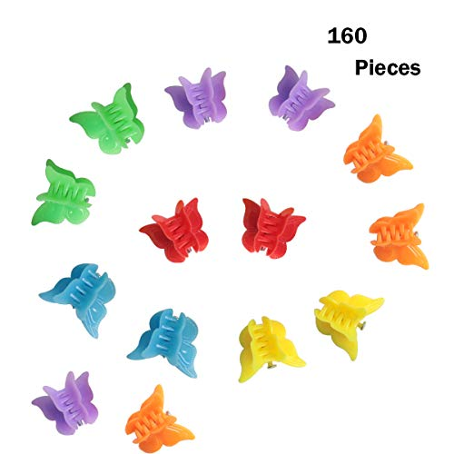 SBYURE 160 Pieces Butterfly Hair Clip Mini Hair Claw Clips for Women,Assorted Color