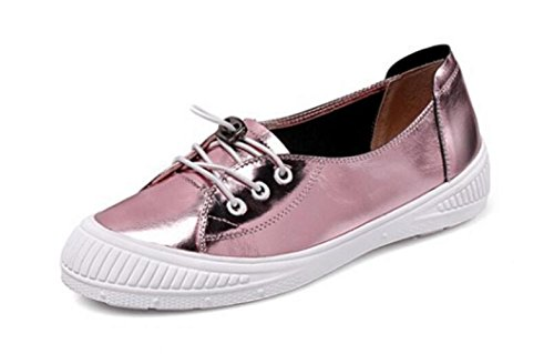 Shoes Femmes Pour Lacets Casual Pink MUYII Flats à Mocassins wqFIA0T