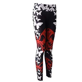 Baosity Yoga Pants Ladies Butterfly Slim Fitness Leggings Run Gym Exercise Trousers - Black, M