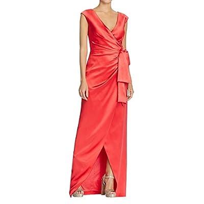 Kay Unger Womens Cap Sleeves V-Neck Wrap Dress