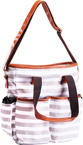 Trendy Stripe Diaper Bag (White & Brown) – Multi-Purpose Baby Tote Bag – Secure Zippers-Closed Pockets – Adjustable Shoulder Strap Baby Travel Bag – by Utopia Home