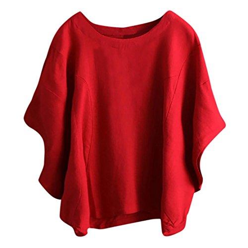 shirt Estiva Donna Top Magliette T Casual Maglia Basic Bluestercool Manica Estate A Rosso Corta Per qEgU8nw5a