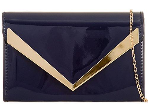 Ladies Clutch Patent Evening Prom blue Bag Purse Party Plain ZES Navy Wedding Hand UpxOwt0