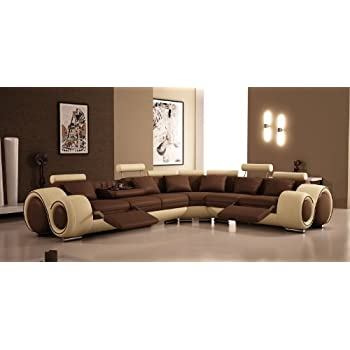 4087   Bonded Leather Sectional Sofa With Recliners