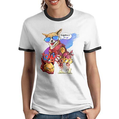 HAIGUANGZ Design Super Heros Tony's Dog Ringer T-Shirt Short Sleeve for Female Black XL