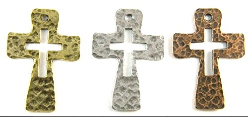 5pcs Hammered Cross with Cross Cutout Charm Pendants (Antique Silver)