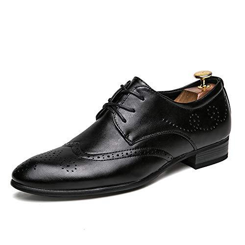 Xujw-shoes, 2018 Scarpe Stringate Basse Scarpe brogue in pelle da uomo Scarpe oxford con lacci traforati (Color : Bianca, Dimensione : 43 EU) Nero