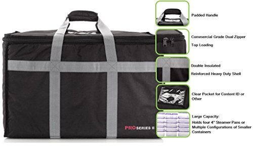 Insulated Commercial Food Delivery Bag - Professional Hot/Cold Thermal Carrier - Large (23'' x 14'' x 15''), Lightweight & Portable for Catering, Grocery Shopping or Parties & Holidays by Henro (Image #1)